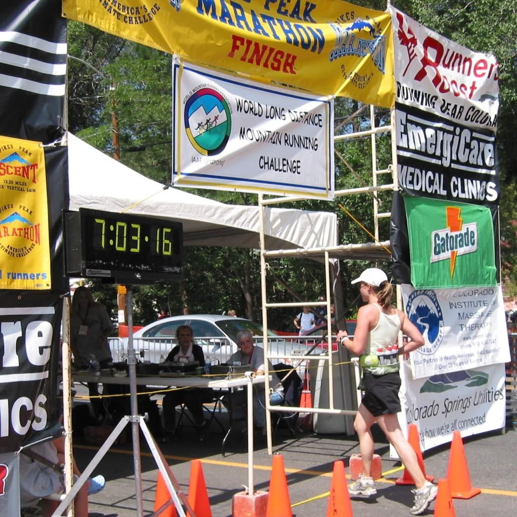 Just Leap! author Amy C. finishing the Pike's Peak Marathon