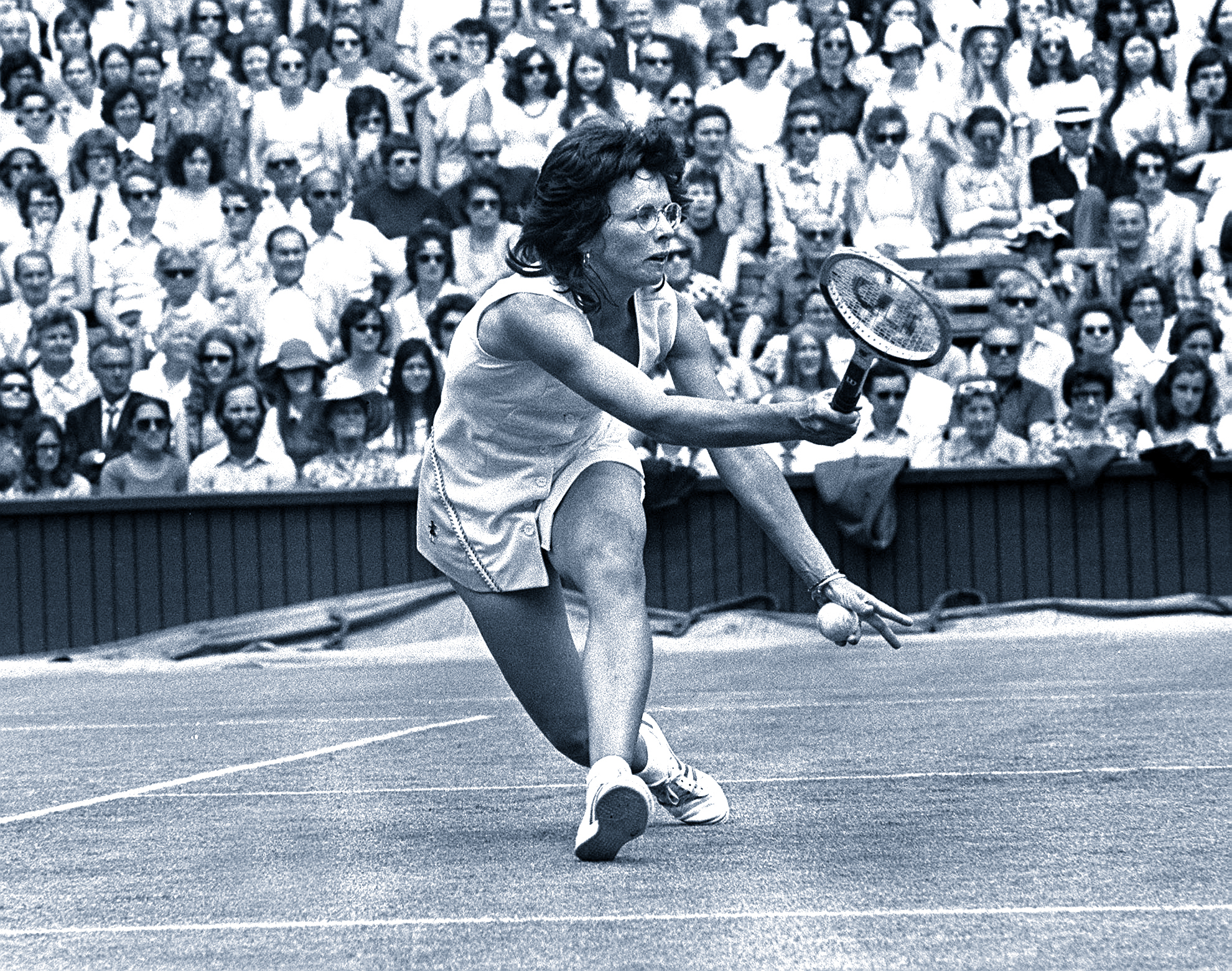 Sport, Tennis, All England Lawn Tennis Championships, Ladies Singles, 26th June 1973, USA's Billie Jean-King during her match with Luci Bassi of Italy (Photo by Popperfoto/Getty Images)